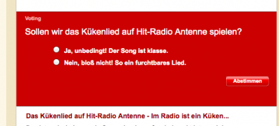 Voting auf der Website von Hitradio Antenne; Quelle Screenshot: antenne.com