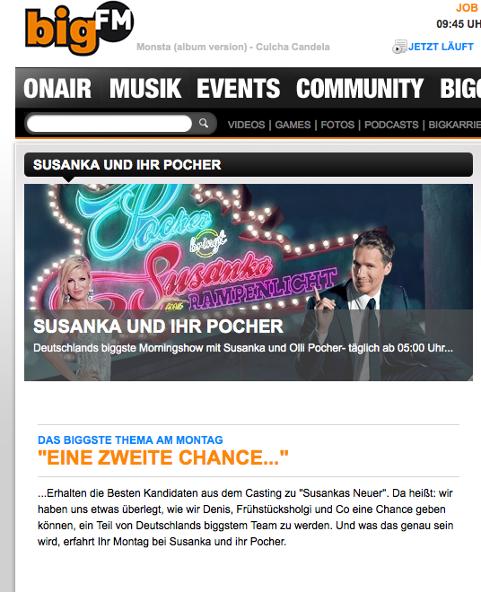 Morningshow-Landingpage auf der Website von bigFM; Quelle: Screenshot bigFM.de