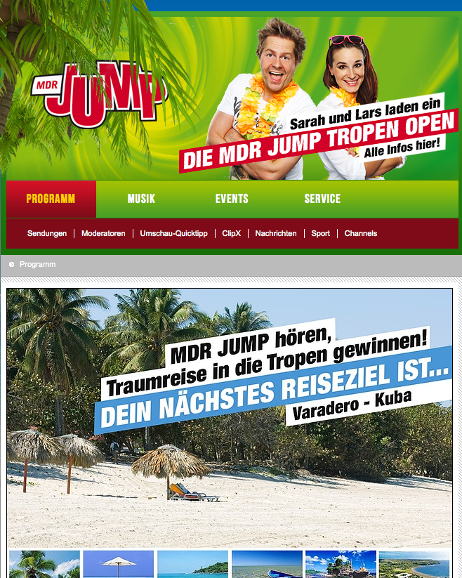 "Aktion ""Tropen Open"" von MDR Jump; Quelle: Screenshot jumpradio.de"