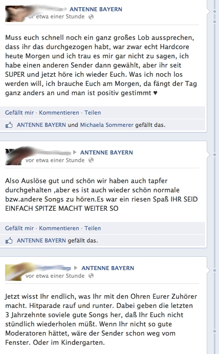 Facebook-Fanpage von Antenne Bayern am 17.04.2013; Quelle: facebook.com / Screenshot