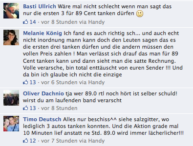 Facebook-Fanpage von 89.0 RTL; Quelle: facebook.com/Screenshot