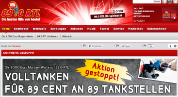 Website von 89.0 RTL; Quelle: 89.0rtl.de/Screenshot