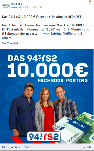 Das berühmte 94,3 rs2-Facebook-Posting; Quelle: Screenshot facebook.com/943rs2